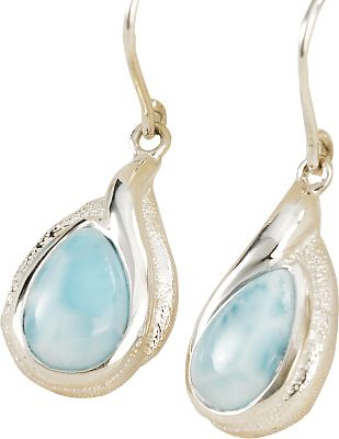 Entertainment Celebrate the one-of-a-kind brilliance of sea-blue larimar and the ageless elegance of sterling silver. Mined by hand from veins crisscrossing extinct volcanoes, larimar is prized for its rich shades of blue that mirror the calm, clear waters of its Caribbean homeland. These French wire earrings feature pear-shaped larimar gemstones in polished, sterling silver settings with a brushed finish.Silver dimensions: 1.3L x 0.4 W.Larimar stone dimensions: 0.4L x 0.3W. - $79.90