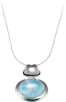 Entertainment Like a June sky in early evening, no two blue-and-white Larimar gemstones are exactly alike. The eye-catching gems are found only in the Dominican Republic where they are formed by the heat and pressure of volcanic activity. Each is accented by highly polished sterling silver. 18 chain.Pendant dimensions: 1L x .75W. - $211.20