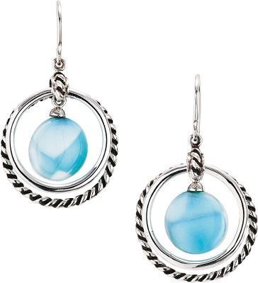 Entertainment Formed through heat, pressure and volcanic activity, no two Larimar stones are exactly alike. Found only in the Dominican Republic and prized for their deep, ocean-blue and soft-white coloration, the exotic gemstones are framed by ornate and polished sterling silver loops. Dimensions: 1-3/8L x 7/8W. - $158.40