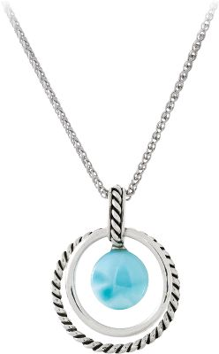 Entertainment Like a June sky in early evening, no two blue-and-white Larimar gemstones are exactly alike. The eye-catching gems are found only in the Dominican Republic where they are formed by the heat and pressure of volcanic activity. Accented by highly polished sterling silver. Pendant dimensions: 1-1/4L x 1W.Chain Length: 18. - $172.80
