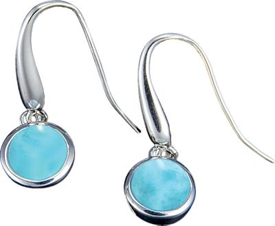 Entertainment The eye-catching blue-and-white Larimar gemstones accenting these earrings are found only in the Dominican Republic where they are formed by the heat and pressure of volcanic activity. No two are exactly the same. Each is accented by a distinct spiral of highly polished sterling silver.Dimensions: 1.2L x .4W. - $127.20