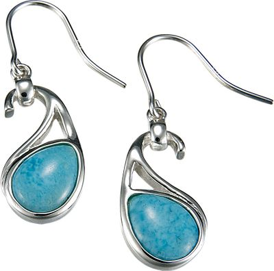 Entertainment With their rich, deep-blue and soft-white coloration, Larimar gemstones make these earrings beautiful, eye-catching accessories. Found exclusively in the Dominican Republic, volcanic activity crystallizes these gems and then thousands of years of exposure to the elements refines their natural beauty so that no two are exactly alike. Highly polished sterling silver accents the gems for even more attractive appeal.Dimensions: .4W x 1.4L. Type: Earrings. - $219.88