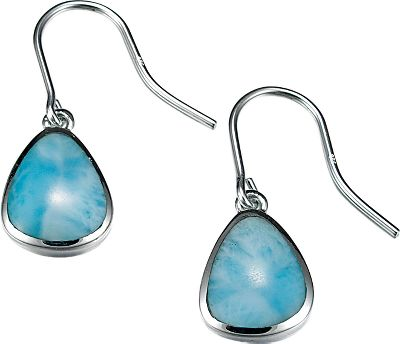 Entertainment Larimar is a unique gemstone prized for its deep Caribbean Ocean blue and soft-white coloration. Found only in the Dominican Republic, its formed by the heat and pressure of volcanic activity - so no two Larimar gems are exactly alike. These earrings feature Larimar accented by highly polished sterling silver for eye-catching jewelry that is sure to spark conversation. Dimensions: 1.1L x .4W. Color: Caribbean. Gender: Female. Age Group: Adult. - $168.00