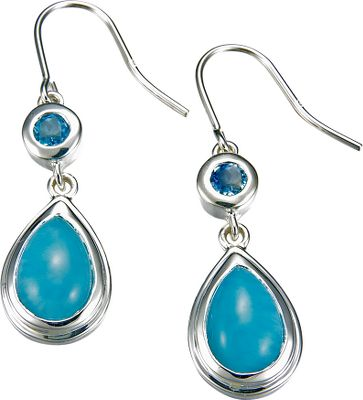 Entertainment Rich, deep-blue and soft-white Larimar gemstones make these earrings beautiful, eye-catching accessories. Found exclusively in the Dominican Republic, the heat and pressure of volcanic activity crystallizes these gems so that no two are exactly alike. Highly polished sterling silver accents the gems for even more attractive appeal. Dimensions: .5W x 1.5L. Color: Silver. Gender: Female. Age Group: Adult. - $194.88