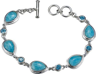 Entertainment Rich, deep-blue and soft-white Larimar gemstones are beautifully set in this bracelet to make it a unique, eye-catching accessory. Highly polished sterling silver accents the gems for even more attractive appeal. Swiss blue topaz completes the bracelets elegance. Found exclusively in the Dominican Republic, the heat and pressure of volcanic activity crystallizes these gems so that no two are exactly alike.Dimensions: 8.2L x .4W. - $299.88