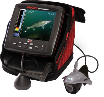 Fishing Your days of carrying multiple marine electronic systems are over. The LX-9 combines a 4,800-watt peak-to-peak power MarCum sonar with a Sony Super HAD II CCD underwater camera and DVR for recording and on-screen playback. Now you find the fish, view them, watch instant replays of the action, and record it to an SD card using a single easy-to-use system. At the center of the unit is an 8 flat-panel LCD with vibrant 800x600 color resolution. User-defined on-screen dashboard displays digital depth, battery voltage, range sensitivity, interference rejection, and target adjust. Multifaceted sonar display boasts a variety of viewing options including water column vertical, vertical zoom, flasher dial and traditional graph displays. Industry-exclusive sonar footprint technology displays area of bottom coverage at any depth with either 8 or 20 transducer core angles. MarCum sonar features adjustable zoom and bottom-lock zoom, 12-level interference rejection, adjustable scroll/ping rates, transducer offset settings, chart zoom and fish ID with depth. Choose from four sonar color palettes. Darkwater LED lighting technology enhances viewing in low-light conditions. Temperature capable when used with optional high-speed transducer. System comes equipped with 75 ft. of cable. Includes rechargeable 12-volt, 9-amp battery; automatic charger; snow-shield faceplate; MarCum automatic camera panner; and deluxe padded soft case. - $1,299.99