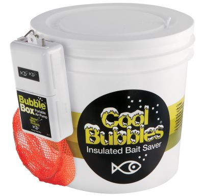 Fishing Insulated, 8-quart aerated bait container keeps bait alive by maintaining constant water temperature and proper aeration. Includes dip net and Bubble Box air pump that runs up to 36 hours. - $31.99