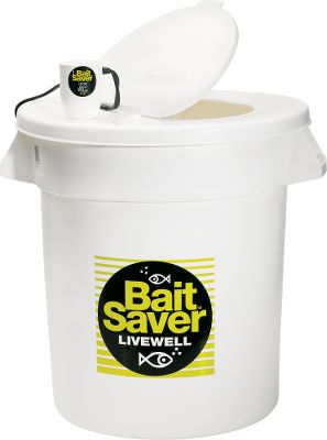 Fishing With the Bait Saver Aerator, you can keep your bait alive and kicking all day long. Ultrasonically sealed 12-volt motor comes with a 6' cord, copper clips and filter. Attaches to any livewell lid and will not damage bait fish. Aerates up to 40 gallons. Keeps both fresh and saltwater aerated.Bait Saver System includes: aerator, filter, livewell container and a hinged lid. Made in USA. Available: 5, 10, or 20 gallon sizes. Size: 5-GALLON. Color: Copper. Type: Aerators. - $69.99