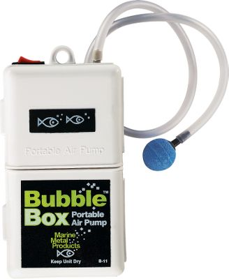 Fishing The Bubble Box is great for use with buckets, coolers or small tanks. It runs up to 30 hours on two D-cell alkaline batteries (not included). Aerates up to 7-1/2 gallons and has adjustable stainless steel mounting clip, air stone and overlap case construction for quietness and durability. Works with freshwater or saltwater. Color: Stainless Steel. - $11.99