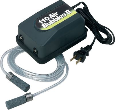 Fishing An affordable solution for keeping fish alive indefinitely. This aerator operates on 110-volt household current and aerates up to 50 gallons. Rubber base mount ensures quiet operation. Includes tubing and air stone. Available: 5-10 gallon 20-50 gallon - $16.99