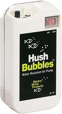 Fishing Hush Bubbles aerates up to 7-1/2 gallons and pumps 7/8 liters of air/minute. It runs quietly for 33 hours on two D- cell batteries and has a waterproof switch. The pump is protected by a weatherproof case, comes with weighted glass bead air stones and has large adjustable stainless steel mounting clips. Color: Stainless Steel. - $24.99