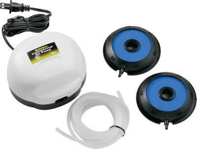 Fishing This powerful commercial-grade system aerates up to 100 gallons of water. Twin outlets pump out a whopping 6.9 liters of air per minute. For freshwater or saltwater use. Includes two weighted 3 bubble donuts, tubing and two replacement diaphragms. 120 volt. - $54.99