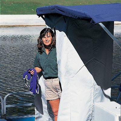 Motorsports This portable privacy partition gives you added protection from onlookers when you need it the most. Use as added privacy for a changing room and PortaPotty. Comes complete with all hanging hardware. Constructed of rugged, durable marine-grade materials to give you years and years of service. Can be installed almost anywhere under your existing Bimini Top or hard top. Full length zipper provides easy-in, easy-out access. Folds up for out-of-the-way storage. Measures: 36 x 36 x 70 .Color: Seagull gray. Color: Gray. - $124.99