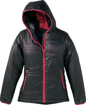Mother Nature's got nothing on you when you're wearing this fun, fashionable hooded jacket from Marmot. Lightweight Ripstop polyester shell fabric features decorative quilting with contrast binding on the attached hood. Thermal R Eco insulation is light in weight but heavy on protection from the cold. Zippered handwarmer pockets are lined with DriClime for additional warmth. Lycra -bound cuffs and an elastic drawcord hem round out the flattering fit. Interior zippered pocket. Imported.Size: S-XL.Colors: Black, Everglade(not shown). - $109.88