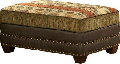 "Hunting No outdoorsman can resist this ottoman. Its large storage top features a richly woven deer portrait set with rustic chenille accents. The multihued fabric collage perfectly complements the Deer Valley Collection sofas. A kiln-dried hardwood fortress frame offers resilient durability. Made in USA. Dimensions: 39""L x 24""D x 18""H. - $849.99"