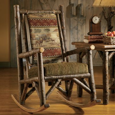 "Hunting Comfort will surround you amidst the serene portraits of beautiful whitetails in their element. This beautifully upholstered rocker features a richly woven deer portrait set with rustic chenille accents to match the Deer Valley Colletion. It's made by hand from select Midwestern kiln-dried poplar. Made in USA. Dimensions: 25""L x 41""D x 46""H. - $999.99"