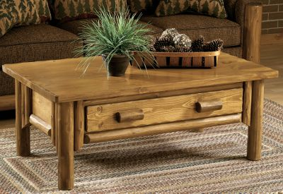 Entertainment This handsome white cedar coffee table adds the finishing touch to lodge-inspired furnishings. Features a pull-out drawer and sealed pine top. Made in USA. Dimensions: 48L x 28D x 19H. Available: Natural Wood Finish, Dark Wood Finish. Color: White. Type: Coffee Tables. - $799.99