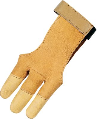 Hunting Three-finger deerskin glove fits over front and back for a perfect fit. Adjustable fastener. Sizes: S-XL. - $14.88