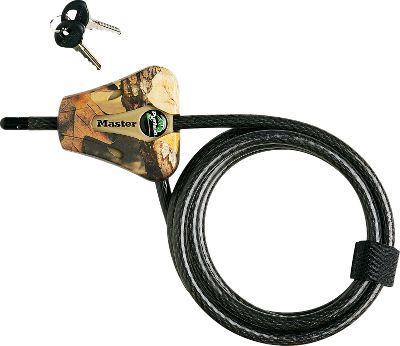 Hunting Keep your treestand safe from theft with this camo treestand lock. The Cut-resistant 6' x 5/16 braided steel cable adjusts from 6 to 6' making it extremely versatile for a range of stands and tree diameter sizes. Pick-resistant reliable pin tumbler locking mechanism. Velcro strap holds excess cable in place. Scratch-resistant camo finish. Color: Camo. Type: Locks. - $19.99