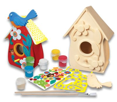 Hunting This adorable wooden birdhouse is just waiting for your child to decorate and display. When the project is complete, the attachable wooden bird will love its new home. Great for a colorful display in a childs room or as a gift to the birdhouse collector in the family. The craft kit from the Works of Ahhh collection includes stencils, stickers, varnish, five acrylic paints, how-to chart and paintbrushes. All materials nontoxic. For ages 5 and up. Type: Painting Kits. - $10.49