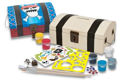 Every pirate needs a treasure chest, and this wooden craft kit gives your little buccaneer the opportunity to create a one-of-a kind coffer for the plunder of play. No treasure chest should ever be left unlocked, so the padlock and keys are included to protect the precious booty hidden inside. This quality wooden paint kit from the Works of Ahhh collection includes stencils, stickers, metallic silver finish, five acrylic paints, how-to chart, paintbrushes and lock and keys. All materials nontoxic. For ages 5 and up. Type: Painting Kits. - $13.88