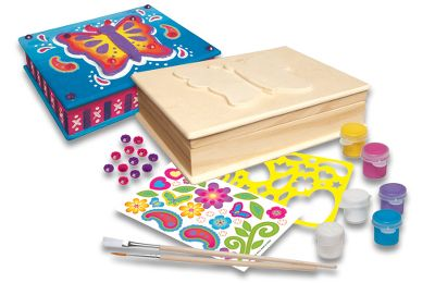Entertainment Every child enjoys creating something fun and useful, and this quality wooden jewelry box provides a great blank slate for any little artist. Little girls will love storing their treasures in their own creation, or the kit makes a great project for any child to make a homemade gift. The craft kit from the Works of Ahhh collection includes stencils, stickers, gemstones, glitter glaze, five acrylic paints, how-to chart and paintbrush. All materials nontoxic. For ages 5 and up. Type: Painting Kits. - $13.88