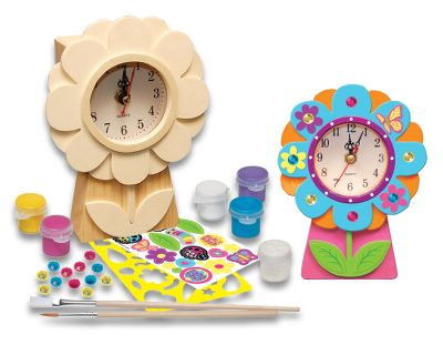 This flower clock paint kit is a fun-to-do project for your little artist. Your childs imagination and creativity will be put to use while painting and decorating the usable clock. The pride of displaying it and saying see what I made will last for years. The craft kit from the Works of Ahhh collection includes stencils, stickers, gem stones, glitter glaze, five acrylic paints, how-to chart and paintbrushes. All materials nontoxic. For ages 5 and up. - $7.88