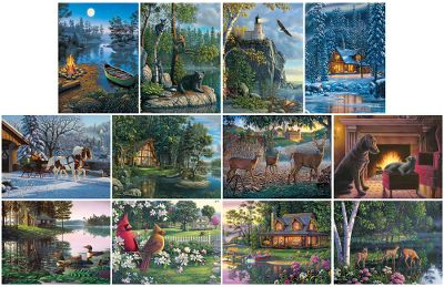 Entertainment This 12-puzzle pack will be a wonderful family activity that gets all ages involved. There are three levels of puzzle piece counts so the amount of time and effort to complete each one is in your control. The beautiful artwork by acclaimed artist Kim Norlien includes wildlife scenes, cozy cottages, and even a playful cat and dog by the fireplace. Whether you save each completed puzzle to display as eye-catching artwork or disassemble to re-create again, the family will have hours of quality time fitting the next piece in place. Includes four 100-piece puzzles, four 300-piece puzzles, four 500-piece puzzles and full-color reference for each. Significant savings over buying 12 separate puzzles. Printed on the thickest grey board in the industry. For ages 13 and up, good family entertainment for younger children with adult supervision. Note: Each puzzle comes in a labeled bag that corresponds to the image on the included poster. Color: Grey. Type: Puzzles. - $29.99