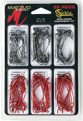 Fishing A complete assortment of sizes and colors to cover a wide array of soft-plastic applications. Includes 44 Red and 44 Black hooks ranging from 1/0 to 4/0. Color: Black. Gender: Male. Age Group: Adult. - $13.99