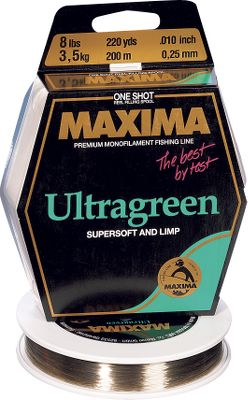 Fishing Experience the strength of Maximas Ultragreen Maxi Spool. This German-engineered monofilament has been a benchmark for knot strength and abrasion resistance for decades. The special Ultragreen Super Soft formulation has a moss-green color that allows great light absorption underwater, making it nearly invisible. Size: 660 yds. Lb. Test Dia. (in.) 4 0.007 6 0.009 8 0.010 10 0.012 12 0.013 15 0.015 20 0.017 - $24.99