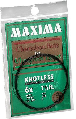 Fishing Maxima leaders stay masked from fish. By combining a Chameleon premium monofilament butt with a Supersoft Ultragreen tippet, these knotless tapered leaders offer a matte finish that absorbs light rays and makes the leaderinvisible to fish. The controlled stiffness Chameleon butt allows for superior casting, while the Supersoft Green tippet presents your fly naturally. Leaders are extremely abrasion-resistant with outstanding knot strength. Comes in length of 7.5 feet. Sizes: 0x-7x. Size: 2XL. Color: Green. - $0.88