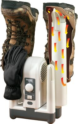 There is no substitute for warm, dry shoes when heading outdoors. This durable, long-lasting forced-air dryer gets boots, shoes and gloves dry in about two hours perfect for taking on trips or hunts, for use in the shop or at home. The XXTREME Forced Air Technology has been tested and proved to remove moisture, perspiration and odor. The quiet, ball-bearing motor is rated for 80,000 hours, and can be operated for up to three continuous hours with the option of a heat/no-heat setting switch. The dryer is constructed of high-impact, rugged ABS plastic and comes with removable drying tubes for tall boots. Dries up to four garments simultaneously. Operates on any standard 110-volt outlet. Works on a variety of footwear including leather, canvas, vinyl, rubber, plastics, man-made materials and more. One-year warranty. Imported. Type: Boot/Wader Dryers. Color: White. Color White. - $49.88