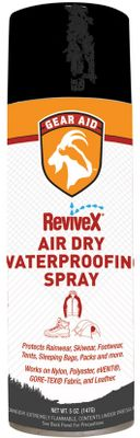 Camp and Hike Add water repellency to your outerwear, footwear and other outdoor gear quickly and easily. Just spray on and air dry no heat setting required. Formula is ideal for all types of breathable garments, including those made with GORE-TEX, Dry-Plus, eVent and other breathable membranes. Size: 5-fl.-oz. bottle. Size: REVIVEX AIR DRY 5 OZ. - $10.99