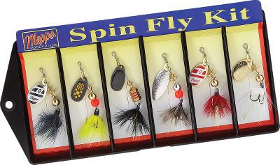Fishing Six size 0 spinners with tried-and-true color patterns and hand-tied fly skirts. .5-oz. each. Kit includes: Blue Dun Bumbleee Black Gnat Mosquito Parma-Bell Micky Finn Color: Black. Type: Hard Bait Kits. - $17.88