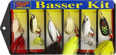 Fishing Six dressed, field-tested bass lures designed to attract big strikes from big bass. Kit includes: No. 2 Aglia Copper No. 3 XD Gold Body/Gold Blade No. 2 Aglia Long Silver No. 3 Aglia Gold No. 3 XD Silver Body/Silver Blade No. 3 Black Fury Hot Firetiger Color: Silver. - $24.74