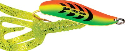 Fishing Fish thick weeds or cover with this Timber Doodle. When rigged with a Mister Twister Split Double Tailit's virtually impossible to get hung up in the weeds. The erratic swimming action is irresistible to big game. They flutter as they sink, so you can jig, cast or troll them. Per each. Sizes: 1/4 oz., 1/2 oz. Colors: (021)Firetiger, (037)Silver/White, (767)Gold/Pumpkin. Color: Timber. Type: Casting & Trolling Spoons. - $6.19