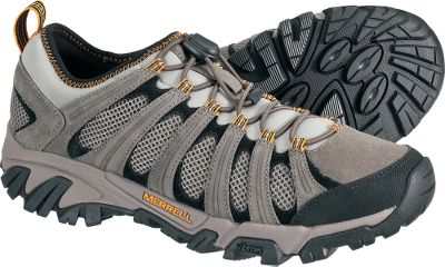 Camp and Hike Fast-moving hikers with a low-cut fit. They feature breathable, moisture-wicking mesh uppers with a nubuck-reinforced frame for increased lateral stability. Elastic cord-locked lacing delivers a secure, custom fit. Shock-absorbing Merrell air cushion heels offer improved comfort and stability. Traction-focused Vibram Geomorph outsoles with extra-grippy TC5+ rubber. Removable EVAfootbeds for extra cushioning. Treated with Aegis antimicrobial solution for long-lasting freshness. Imported. Average weight: 1.9 lbs./pair.Mens sizes: 8-14 medium width. Half sizes to 12. Color: Boulder. - $79.88