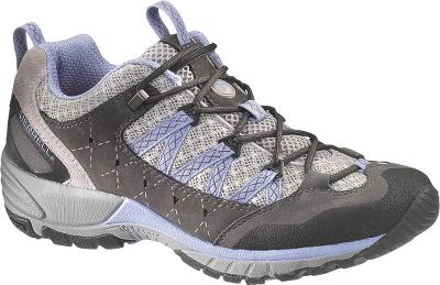 Camp and Hike Breathable mesh/waterproof nubuck uppers make these speed hikers extra light for extra comfort. Compression-molded footframes and arch shanks support feet and ankles on rugged terrain. QForm Comfort midsoles and Ortholite footbeds provide womens-specific stride-sequenced cushioning. Air cushions in the heels absorb shock and add stability. The mesh linings have an Aegis anti-odor treatment. Vibram Avian Light soles with 3.5mm lug depth. Imported.Average weight: 1.4 lbs./pair.Womens sizes: 5-11 medium width. Half sizes to 10.Color: Dark Shadow. - $109.99
