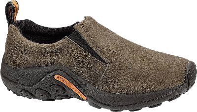 This Merrell Moc has a closed back for more stability and protection while still offering easy on and off convenience. Comfortable footwear no matter where you go. Elastic gussets flex when you walk, while the stable footbed cushions every step. Each shoe is built on a compression-molded footframe for improved stability and comfort. Air Cushion midsole adds firm yet comfortable support. The Jungle Runner sticky rubber sole will give you plenty of traction, and theres even a toe guard for protection from rocks and debris. Waterproof pigskin upper. Womens sizes: 6-10 medium width. Half sizes to 10. Colors:Midnight, Gunsmoke. Size: 8. Color: Black. Gender: Female. Age Group: Adult. Type: Shoes. - $59.88