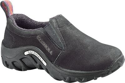 A comfortable Merrell classic, now in a model made especially for kids. They feature an easy, slip-on design with nubuck uppers and strobel construction for flexibility and walking comfort. Shock-absorbing Merrell Air Cushion heels and EVA midsoles provide stability and support. Removable, cushioned EVA footbeds. Durable, quick-drying Nylex linings. Nonmarking rubber outsoles. Imported.Kids sizes: 10 to 13-1/2 medium width, 1-7. Half sizes to 13-1/2.Color: Black. - $54.99