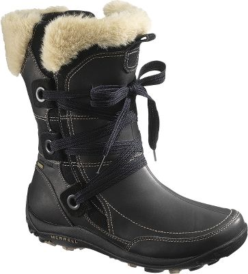 Crafted for luxurious warmth with faux-fur trim, these boots are ready for winters coldest days. Full-grain leather and suede uppers with waterproof membranes for an impermeable, breathable barrier. 200-gram PrimaLoft antimicrobial insulation with Merrell Conductor Fleece linings deliver lightweight, versatile heat retention. OrthoLite anatomical footbeds for added comfort and performance. Air cushions in the heels absorb shock and add stability. Womens stride-specific Q-Form cushioning is comfortable and flexible for all-day support. Snow De Vie sticky rubber outsoles deliver nonslip traction. Comfort range to -25F. Imported.Height: 10.Average weight: 2 lbs./pair.Womens sizes: 5-11 medium width. Half sizes to 11.Colors: Bitter Chocolate, Black. - $164.99