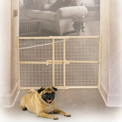 Hunting Strong and durable wood and wire-mesh gate easily locks in place with a pressure bar, keeping your pet contained to preferred areas in your home. Variable-width range fits multiple opening sizes. Sizes: 24H x 26 to 41-1/2W 32H x 29 to 50W 44H x 29 to 50W Size: 24 HIGH. Type: Pet Gates. - $24.99