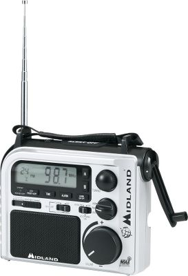 This water-resistant emergency radio is perfect for the car, boat or camper. Digital readout with seven NOAA weather channels, thermometer and alert to keep abreast of weather. Powered by hand crank or AC adapter. Handy clock and alarm. Auto scans to weather channel on startup. Backlit LCD. Three-LED flashlight. Color: Silver. Dimensions: 3 W x 8 H x 6 D. Weight: 3.3 lbs. Color: Silver. Type: Emergency/Weather Radios. - $49.99