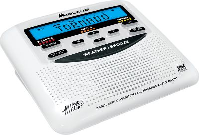 This emergency weather-alert radio stores up to 10 different weather- and all-hazards alerts and displays them in your language of choice - either Spanish, English or French. All-hazard alerts include: Amber alerts, local area emergency, fire alert messages and more. Unit receives seven National Oceanic and Atmospheric Association (NOAA) and Environment Canada Weather channels and emergency alerts with color-coded alert indicators. Features Specific Area Message Encoding (SAME) that can be programmed to receive only bad weather and emergency alerts that occur in up to 25 specific counties. Three selectable warning systems: siren alarm, flashing LED or voice alert. Features the time, date and an alarm clock with snooze. Public-alert certified. Operates on three AA batteries (not included) or 12-volt DC power source (included). Dimensions: 2H x 4.5W x 5D. Weight: 1 lb. Color: Amber. - $34.99