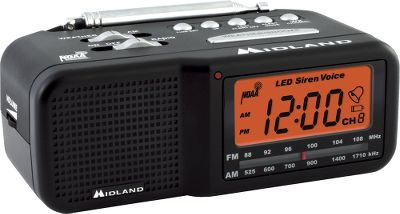 Wake Youll sleep better knowing that you and your family will be instantly warned in the event of severe weather or other emergencies. This fully functional alarm clock/AM/FM radio also has all seven NOAA weather-alert channels and receives All Hazards Alerts as well. The large, backlit LCD digital display shows you the time, and you can set the alarm to wake up to your favorite radio station or the local forecast. The alarm clock is equipped with a snooze feature. When danger threatens your area, a warning sounds. You can choose to be alerted by a voice warning, visual display or a warning tone. The unit is capable of receiving 60 kinds of alerts including tornado, hurricane, flood and severe thunderstorm warnings, as well as Amber alerts, nuclear power plant warnings, biological hazards, wildland fire alerts, landslide warnings and many more. Outfitted with a telescoping antenna. Uses four AA batteries (not included) for emergency backup power.Dimensions: 2.5H x 6.25W x 3.75D.Weight: 1 lb. Type: Weather Radios. - $39.99