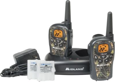 Hunting Water-resistant 22-channel radios have up to a 24-mile range under ideal conditions. Call alert notifies of incoming calls and scans for channel activity. High/low battery settings and battery-save circuit extend battery life. Dual-power option uses rechargeable batteries or four AAA batteries (not included). Mossy Oak Break-Up faceplate. Accessory jack accommodates headsets. Includes: two radios with rechargeable batteries, dual desktop charger and AC adapter. Imported. - $36.88