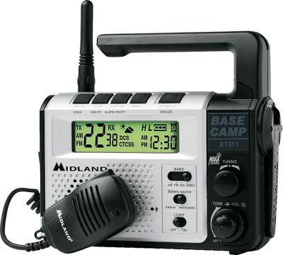 Camp and Hike Communicate with members of your party in the field, monitor news and weather information, keep track of time and light your way in the dark. This single unit does it all. It's an AM/FM/NOAA weather radio receiver, and the emergency alert feature lets you know when severe weather and other emergency situations develop in your area. The alarm clock displays accurate time, and an integrated three-LED flashlight will come in handy around camp after dark. What's more, this unit has a built-in 22-channel GMRS radio with 121 privacy codes, channel scan, auto squelch, high/low power settings, and the ability to switch between PTT to VOX transmitting options. Channel scan picks up any emergency messages from outdoorsmen using a GMRS radio nearby. Don't worry about losing power. The XT511 comes with a rechargeable NiMH battery pack and it can be operated or recharged using the included 120-volt outlet charger, an included 12-volt charging adapter, or use the crank power option to eliminate the need for batteries. A charge indicator in the backlit LCD screen shows current charge level. This radio's battery pack is identical to the AVP7 battery pack used in many Midland and Cabela's brand GMRS radios, so the XT511 could also be used to recharge those. The XT511 comes with a handheld microphone and has a USB port for recharging newer cell phones, iPODs and similar electronic devices. Convenient carry handle on the water-resistant plastic case. Dimensions: 7-1/4 L x 2-3/4 W x 6-1/2 H. Weight: 3.25 lbs. Color: Silver Color: Silver. Type: Radios. - $89.99