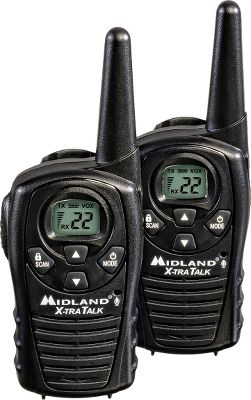 Hunting This pair of radios is perfect for a multitude of outdoor activities. Midlands LXT118VP radio pack boasts an 18-mile range, 22 channels and a dual-power option that supports either standard alkaline batteries or rechargeable batteries (not included). Additional features include a water-resistant shell, call alert, channel scan, a hands-free eVox option, auto squelch, battery-life extender, keypad lock and a headset jack. - $25.99