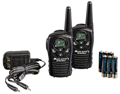 Hunting This pair of radios is a great value in a tiny package, perfect for a multitude of outdoor activities. Midlands LXT118VP radio pack boasts an 18-mile range, 22 channels and a dual-power option that supports either standard alkaline batteries or the included rechargeable batteries. Additional features include a water-resistant shell, call alert, channel scan, a hands-free eVox option, auto squelch, battery-life extender, keypad lock and a headset jack. AC adapter included. Type: Radios. - $34.99