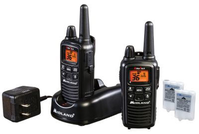 Hunting This package is designed to function as both a means of communication and as an all-weather alert radio, perfect for family outings and backcountry hunting trips. Enjoy a multitude of features with this Midland value radio pack, including durability, water resistance, 36 channels and NOAA weather and hazard alerts. 22 GMRS channels and an extra 14 special channels boast a range of up to 26 miles. Scan the nearest NOAA broadcast to stay on top of weather information, emergency announcements, nuclear plant warnings, biological hazards and environmental warnings such as fires and landslides. Additional features include three levels of eVox hands-free operation, silent operation, auto squelch, 121 privacy codes, channel scan, five distinct call alerts, keypad lock and a headset jack. A dual-power option allows for the use of the included rechargeable batteries (charger included) or four AAA batteries. - $72.99